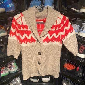 Short Sleeve Button Down Sweater